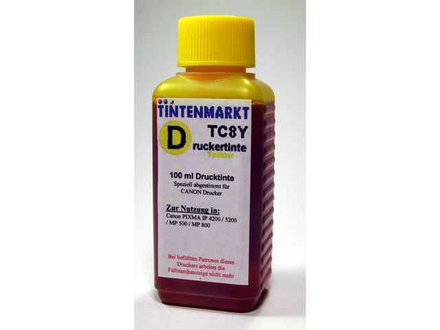 Druckertinte in Dye Based Qualit�t f�r Canon CLI8Y 100 ml yellow