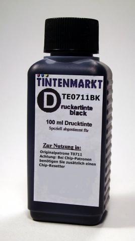 Tintenmarkt Druckertinte für Epson T0711, 100 ml