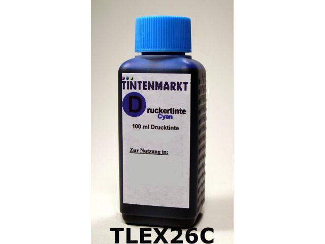 Druckertinte für Lexmark 010NX217 und 10N0016 100 ml zum Befüllen der Originalpatrone cyan