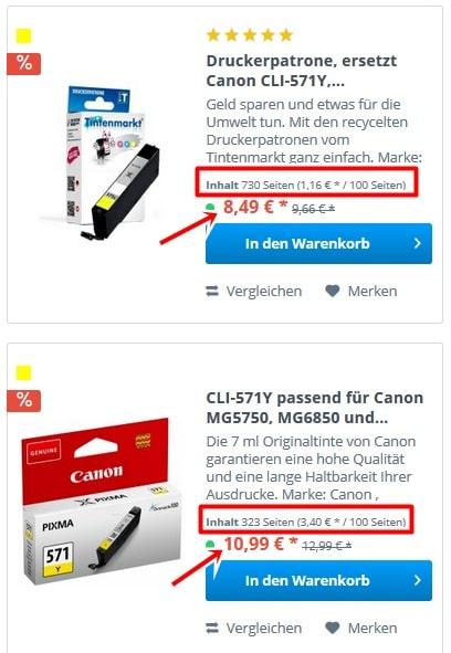 Preisvergleich Canon CLI-581yellow