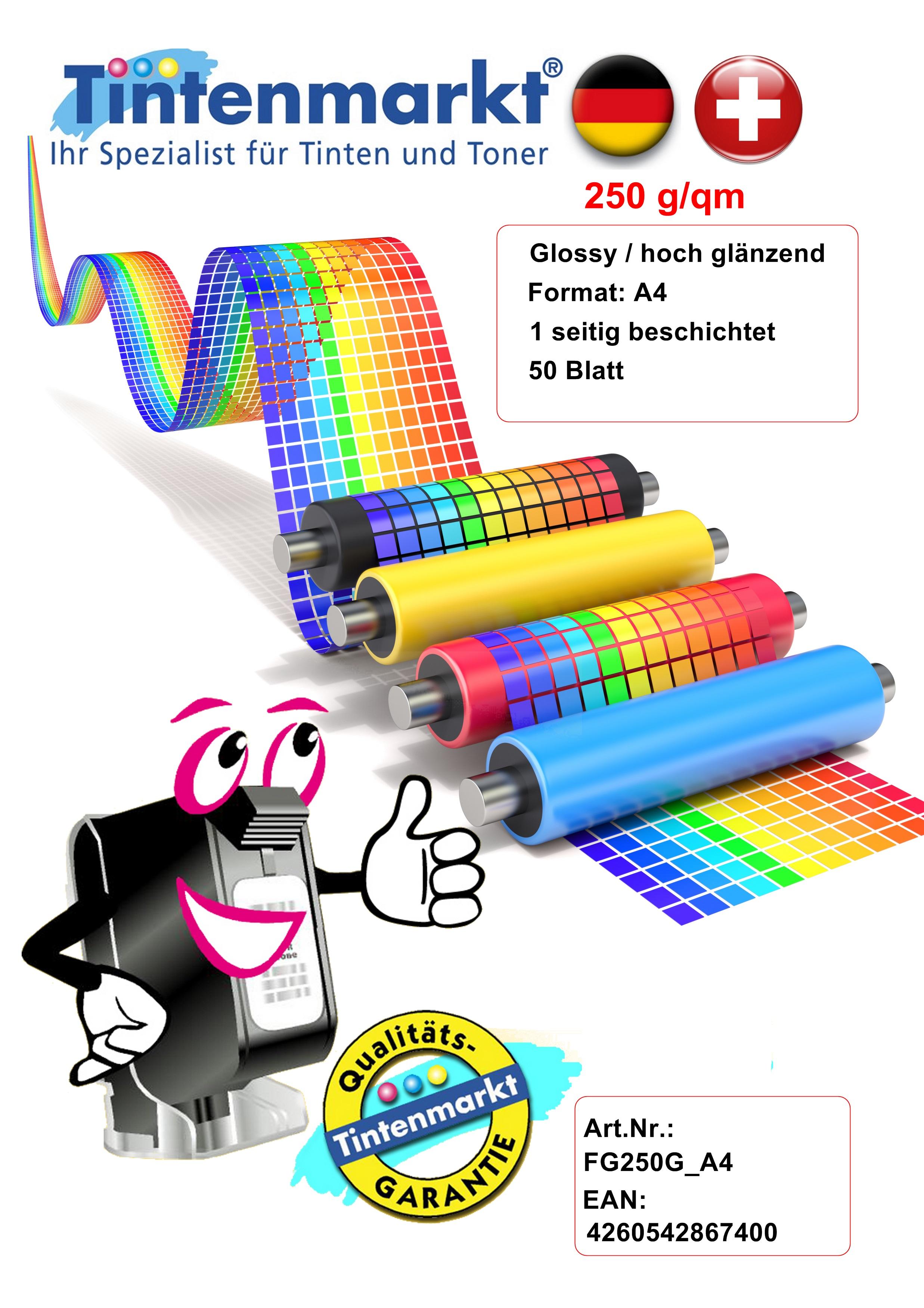 A4 Inkjet Papier 120g photo-glänzend 50 Blatt 1-seitig beschichtet