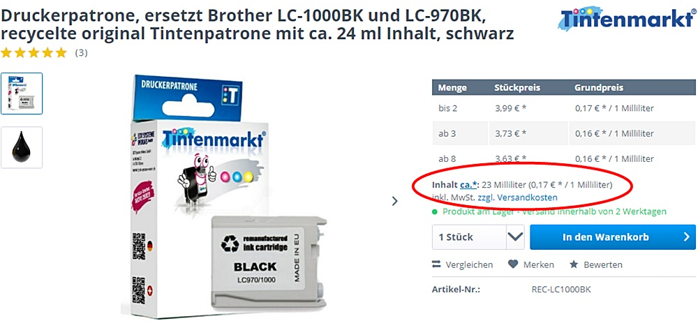 ML Umrechnung bei Druckerpatronen vom Tintenmarkt
